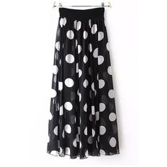 Women's Polka Dot Print Elastic Waist Maxi Layered Beach Skirt (€28) ❤ liked on Polyvore featuring skirts, long polka dot skirt, beach maxi skirt, double layer skirt, layered skirt and maxi skirts