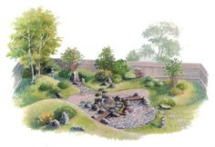 Creative Landscape, Landscape Design Plans, Garden Design Plans, Yoga Garden, Mini Zen Garden, Japanese Garden Landscape, Front Yard Garden Design, Evergreen Garden, Sensory Garden