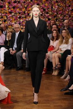 Dior Haute Couture Autumn-Winter 2012 – Look 1: black wool tuxedo 'Bar' jacket with black wool cigarette pants. Discover more on www.dior.com   #Dior #PFW