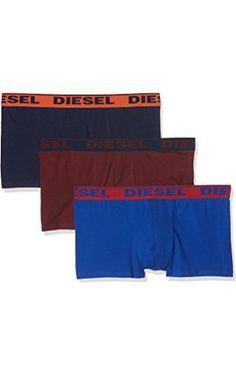 Diesel Men's Fresh and Bright 3-Pack Shawn Cotton Stretch Boxer Brief, Royal Blue/Burgundy/Navy, Medium ❤ Diesel Men's Underwear
