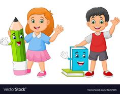 Cartoon kids with book and pencil mascots Vector Image Drawing School, School Painting, Kids Background, School Frame, School Murals, School Labels, School Clipart, Starting School, School Decorations