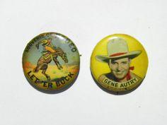 Vintage Gene Autry & 'Let 'Er Buck' Pinbacks