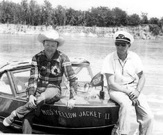 Down in Texas, Roy Rogers sits on his speedboat, Miss Yellow Jacket II