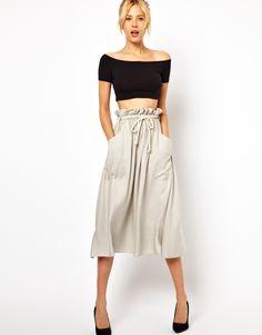 Midi Skirt with Tie Waist