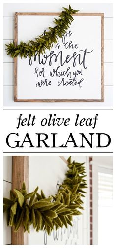 Felt Olive Leaf Garland : Learn how to make 20 different Felt Christmas Crafts! Holiday Home Decor and Ornaments are so much fun to make! Felt Garland, Diy Garland, Garlands, Pinecone Garland, Fabric Garland, Felt Diy, Felt Crafts, Felt Christmas, Christmas Crafts