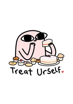 Treat Yourself - by Ketnipz Funny Phone Wallpaper, Mood Wallpaper, Kawaii Wallpaper, Wallpaper Quotes, Wallpaper Backgrounds, Bear Wallpaper, Cute Memes, Funny Quotes, Funny Memes