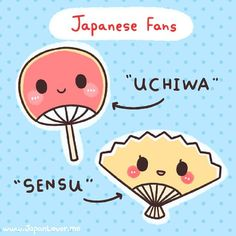 Sensu and Uchiwa are the two main kinds of hand-held fans in Japan! Asides from keeping you cool in summer, they are also used for ceremonies and decorations. (*^。^*) - Japan Lover Me Learn Japanese Words, Japanese Phrases, Study Japanese, Japanese Culture, Japanese Kimono, Otaku, Japanese Language Learning, Japanese Symbol, Turning Japanese