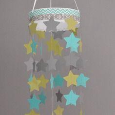 Stickers hibou et ses 16 étoiles - turquoise vert anis gris ...