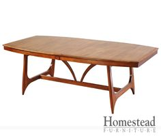 Continental Trestle Table This sleek, contemporary dining table has a mid-century modern feel with an emphasis on design. Pair it with other pieces within the Continental collection for a complete look. A variety of hardwoods and finishes are available to help you create the look you want.  http://www.homesteadfurnitureonline.com/dining-tables_continental-trestle.html