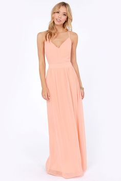 a0569629d1d9 Exclusive Rooftop Garden Backless Peach Maxi Dress