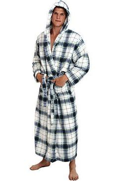 ee3c4a837b Mens Hooded Plaid Bathrobe White Blue Fleece 1XL 2X Full Length Soft Spa  Robe  fashion