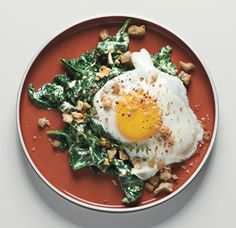 Sunny-Side-up Eggs on Mustard-Creamed Spinach with Crispy Crumbs  Recipe (sub almond meal for breadcrumbs and coconut milk for half and half)