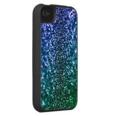 Blue and Green Sparkle Glitter iPhone 4 Case/Zazzle