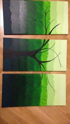 Troj obraz Složený obraz  Zelená  Three picture Green Tree