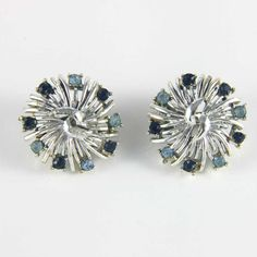 CORO silver and blue rhinestone 1950s earrings - baby blue and navy blue. Available @ www.luluandbelle.com
