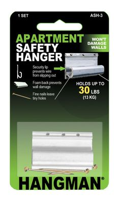 The Hangman Apartment Safety Hanger is an extruded aluminum track that has a lip to prevent picture hanging wire from slipping out. The wire is easy to insert and won't come out if bumped. The bracket