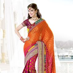 Orange and Shaded Pink Viscose Saree with Blouse
