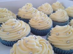 blue silver and white cupcakes, christening cupcakes