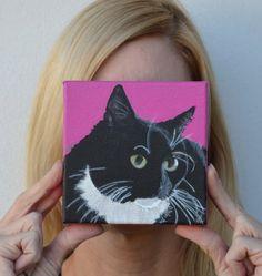 I want one of Mr. Darcy! Pet Portrait Cat Portrait Original Acrylic by PopArtPetPortraits, $70.00