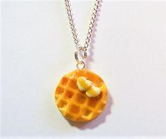 Food Jewelry Waffle Necklace Waffle Pendant Miniature Food