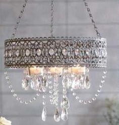 shabby chic lighting <3 Shabby Chic Cottage Pink Roses #chandelier