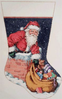 Sandra Gilmore # 16-069 Up on the Roof Stocking, 16 mesh, 12 x 22