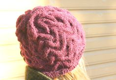 KNITTING PATTERN cable beanie hat Irpa with a flower by MukiCrafts, $3.95