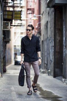 MARCEL FLORUSS | Shirt (J.Lindeberg) / Jeans (Armani Exchange) / Shades (Warby Parker) / Watch (Jean Richard) / Sandals (Birkenstock) / Bracelet (Ebb & Flow) /Bag (Coach)