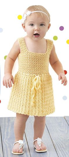 Lacy Little Girl Dresses - The sweet crochet designs in Lacy Little Girl Dresses from Leisure Arts are perfect for dress-up days or playtime. Sized to fit toddlers 12 to 18 months, each dress is crocheted using light weight yarn and Easy-Plus skill level. Four designs by Lois J. Long include Kate, with a circular yoke; Jasmine, with a full skirt; Ashley, with tiered stripes and lacy trim; and Lexxi, a dropped-waist dress with a flower applique.