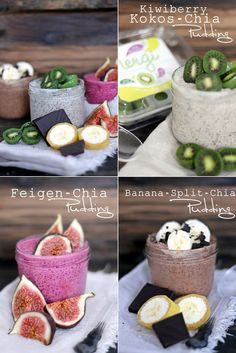 Great recipes for healthier chia seed puddings. 3 different chia seed pudding recipes so you can have a variety. Chia seeds are full of fiber and is Vegan Sweets, Vegan Desserts, Raw Food Recipes, Sweet Recipes, Chia Pudding, Breakfast Desayunos, Breakfast Recipes, Perfect Breakfast, Pudding Recipes