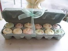 This would be good for egg cake pops. Mini cupcakes in an egg carton for Easter, such a cute gift. I'll probably ice them in pastels and top them with Cadbury Mini Eggs. Mini Cupcakes, Easter Cupcakes, Cupcake Cakes, Small Cupcakes, Cupcake Gift, Muffin Cupcake, Cheesecake Cupcakes, Coconut Cupcakes, Little Muffins