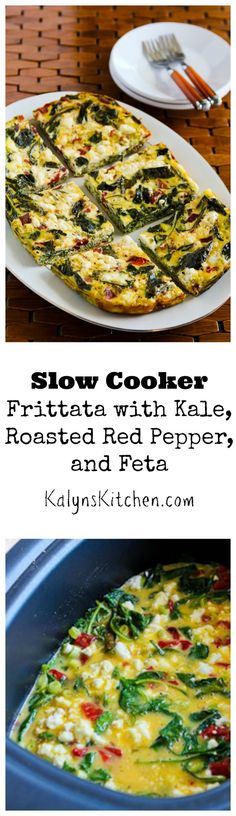 Use the slow cooker to make this Frittata with Kale, Roasted Red Pepper, and Feta and you'll have a few hours free to do other things while breakfast is cooking. [from KalynsKitchen.com]