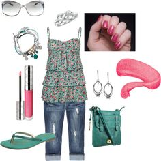 pink & teal, created by tltrover on Polyvore
