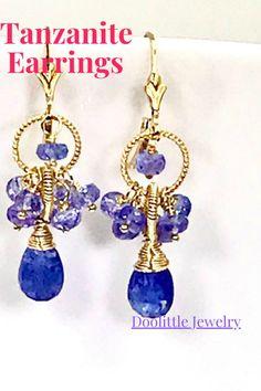 Dainty Earrings, Cluster Earrings, Leaf Earrings, Earrings Handmade, Tanzanite Earrings, Plastic Earrings, Earring Backs, Organza Bags, Custom Jewelry