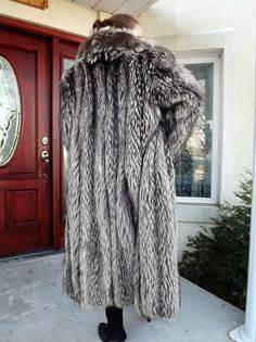 Long Canadian Genuine Indigo Silver Gray Fox Fur Coat Large | eBay