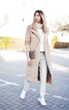 Tarmarz.com personal style featuring camel coat (max mara dupe) beige & White streetstyle Kim k Chanel womenswear women's fashion
