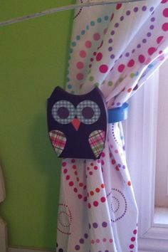 Set of Wooden Owl Curtain Hold Backs by TheWoodenOwl on Etsy, $28.99