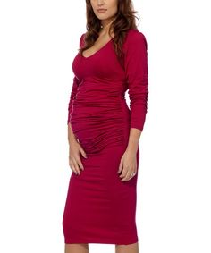 Look what I found on #zulily! Bordeaux Red Ruched Maternity Midi Dress by Eva Alexander #zulilyfinds