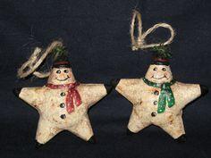 Paper mache Set of 2 Snowman Star Ornament