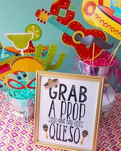 FIESTA PHOTO BOOTH PROP -- CINCO DE MAYO THEMED PRINTABLE WORD ART Set up some props along with this PRINTABLE DIGITAL DOWNLOAD sign and watch your guests capture the party fun on film! This printable word art has an option that will fit in a 8.5x11 full page document frame that can