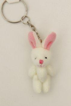 Lucky Charm Tiny White Bunny Key Chain