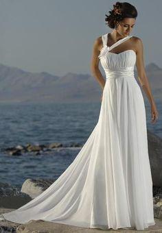 Chiffon Beach Wedding Dresses  like the design of neckline❤