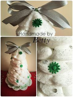 Christmas white tree #handmade #decoration #christmasdecoration #christmas #christmastree #ideas #white #cottonpads