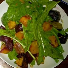 Beetroot, pumpkin and rucola salad. Warm summer salad to enjoy with a glass of cold drink!