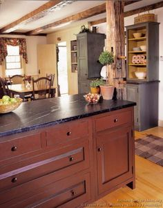 """Kitchen of the Day"" - Rustic Country Kitchen with Soapstone Countertops. Evoking the early American ideal of rugged independence, this Crown Point kitchen incorporates some remarkable features..."