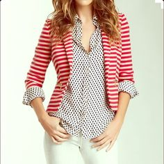 Red and White Blazer Red and white striped blazer sweater very comfortable and great condition only worn twice. First photo is an outfit example off Pinterest! Very soft and comfy. Caslon Sweaters