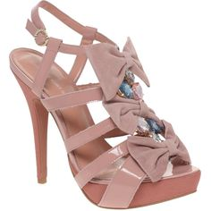 Kg By Kurt Geiger Imogene Triple Bow Jewelled Heeled Sandals ($86) ❤ liked on Polyvore featuring shoes, sandals, heels, women, kg kurt geiger, kg kurt geiger shoes, high heel sandals, jeweled sandals and heeled sandals