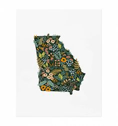 Georgia Wildflowers Illustrated Art Print