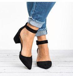 Apr 2020 - Pointed Toe Chunky Heel Pumps Adjustable Buckle Heel Sandals herhersho – herhershoes Ankle Strap Heels, Pumps Heels, Stiletto Heels, Low Heels, Heeled Sandals, Wedge Sandals, Botines Louis Vuitton, Frauen In High Heels, Chunky Heel Shoes