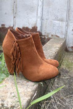 Brooklyn Babe Rust Fringe Chunky Heel Ankle Boot